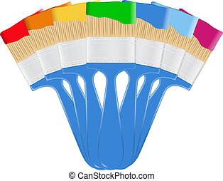 Paintbrushes - Vector blue paintbrushes