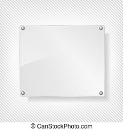 Glass board on striped background