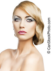 blond vintage girl portrait, she looks in to the lens, she looks