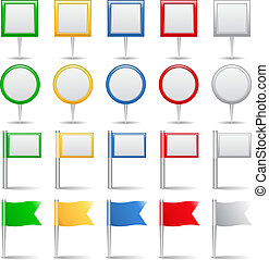 Map markers and flags - Set of map markers and flags, vector...