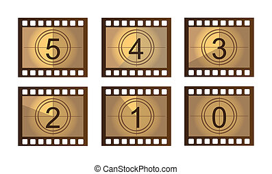 Film countdown - old Film countdown isolated over white...