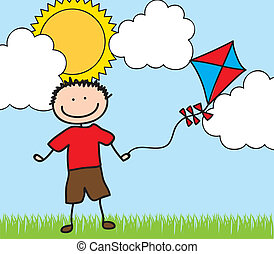 boy with kite drawing - boy with ket drawing over landscape....