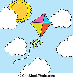 kite drawing over summer landscape. vector illustration