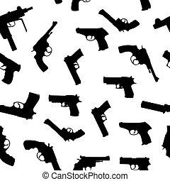 vector, armas de fuego, Conjunto, seamless, patrón