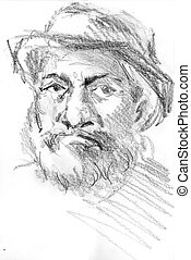 middle age man`s portrait with hat, hand drawn sketch by...