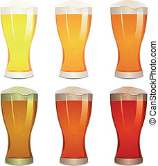 Lager, Amber And Stout Beers Set - Illustration of a mouth...