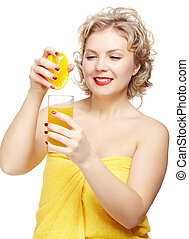 woman squeezing out orange