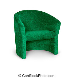 Green armchair on white
