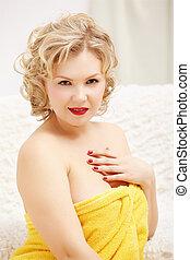 woman in bath towel