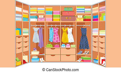 Wardrobe room Furniture - Vector illustration, color full