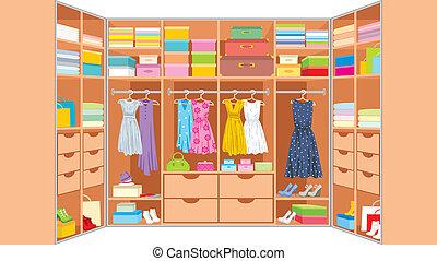 guardarropa, habitación, muebles