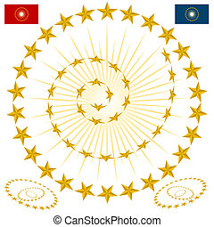 Beveled Gold Star Design Elements - An image of a beveled...