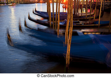 Night Grand Canal - Panoramic of Grand Canal with many...