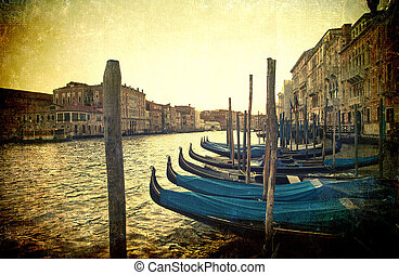 Grunge Grand Canal - Grunge panoramic of Grand Canal with...