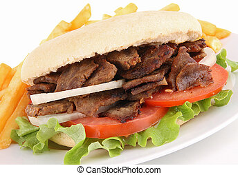 kebab and french fries