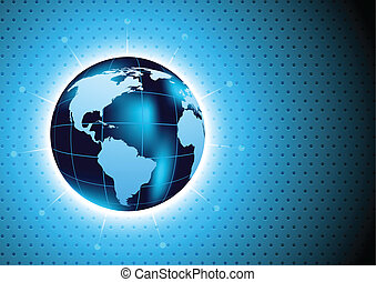 Background with glboe - Abstract blue background with globe