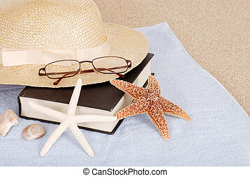 relax beach concept book hat