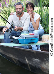Married couple fishing
