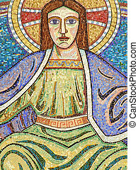 religious mosaic 04 - A religous mosaic on the wall of a...