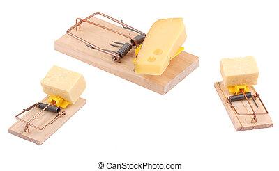 Trois, souris, pièges, fromage