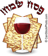 Happy passover - matza and wine - Happy passover - matza...