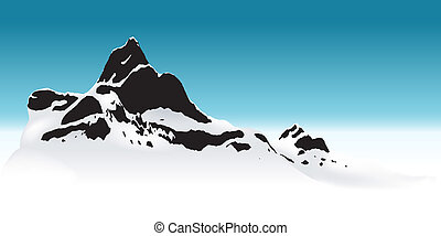 Snowy Mountain - Background Illustration, Vector