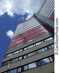 Gothenburg Utkiken tower 12 - A close up view of the red and...