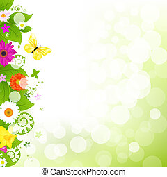 Flower With Grass And Flowers, Vector Illustration