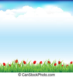 Green Landscape With Grass And Red Tulip, Vector...