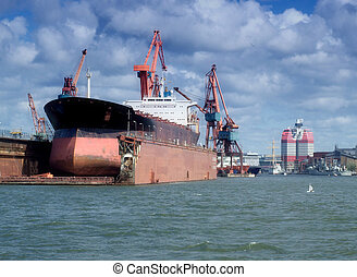 drydock at gothenburg 04 - giant industrial tanker...