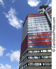 Gothenburg Utkiken tower 11 - A close up view of the red and...