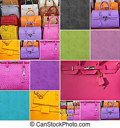colorful fine leather handbags collage - composition made of...