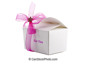 Small gift box with pink bow