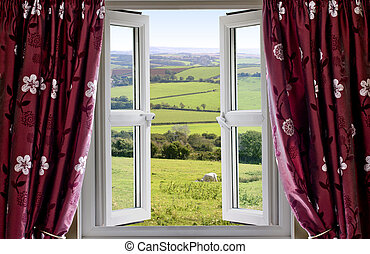 Open window with rural view