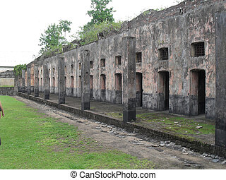 Prison ruins in city Sent-Lourent in the French Guiana. The...