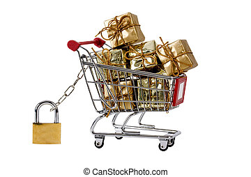 Secure shopping trolley with gifts - Secure shopping trolley...