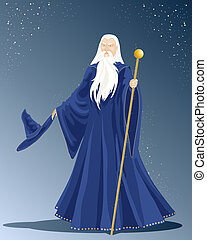 wizard - an illustration of a white haired wizard in a long...