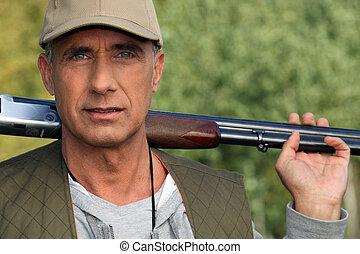 cazador, tenencia, escopeta