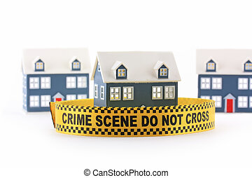 House with crime scene banner