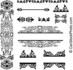 Cambodian floral pattern - Vector set of Cambodian floral...