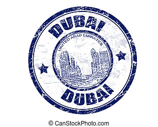 Dubai stamp - Grunge rubber stamp with the word Dubai...