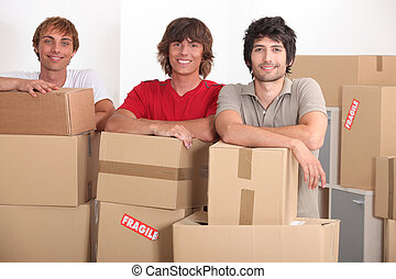 teenagers moving together into a new apartment