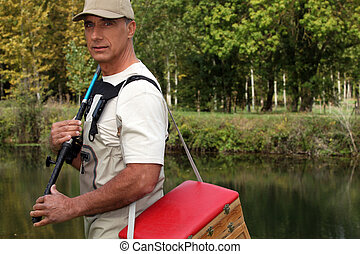 Man with his fishing gear