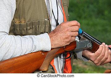 cazador, carga, escopeta