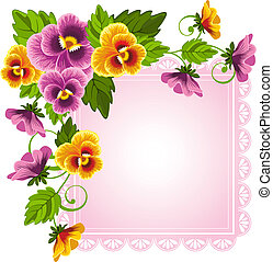 Pansy - Gentle floral background with pansy Flowers and...