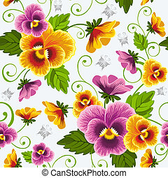 Pansy - Gentle floral seamless background with pansy Drawn...