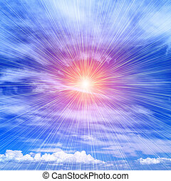 Rays of the sun on the blue sky - Bright rays of the sun...