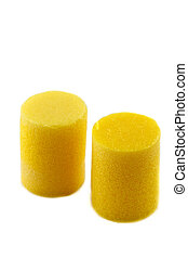 ear plugs - yellow ear plugs on a white background