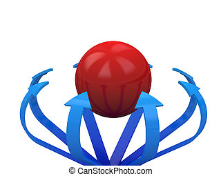 Blue arrows specify in a red sphere