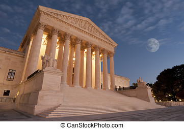 Moon over US Supreme Court - A night shot of the front of...